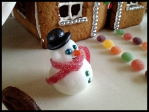 Gingerbread House phase 10 - setting the scene with Frosty the Snowman