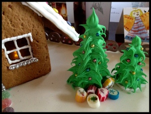 Gingerbread House phase 11 - setting the scene with Christmas trees and presents