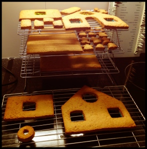 Gingerbread House - phase 2 (baked and cooling)