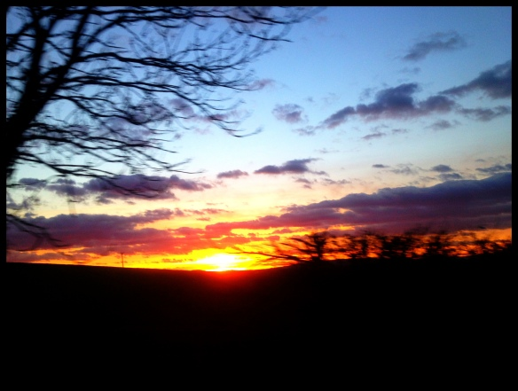 The sunset, taken from a moving car