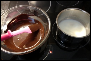 Chocolate  Mousse - melted chocolate and boiling milk