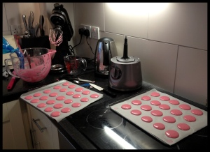 Pink Macaroons - piped (slightly slapdash)