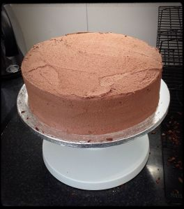 chocolate buttercream-covered 26cm cake