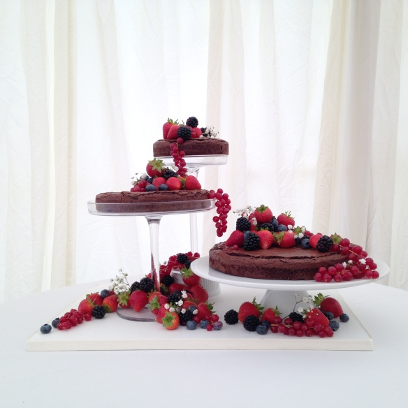 Gluten Free Chocolate Wedding Torte with Summer Berries