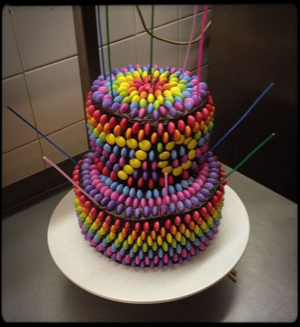 Two-Tier Rainbow Smartie Spots Cake